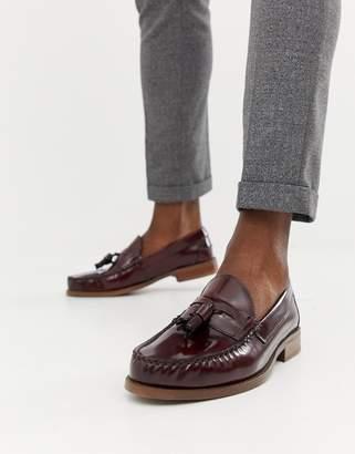 Office Invasion tassel loafers in burgundy high shine