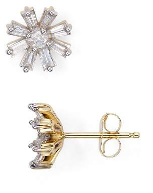 Adina Diamond Baguette Flower Stud Earrings