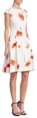 Lela Rose Blair Flower Cap Sleeve Dress