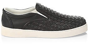 Bottega Veneta Men's Dodger Woven Leather Sneakers
