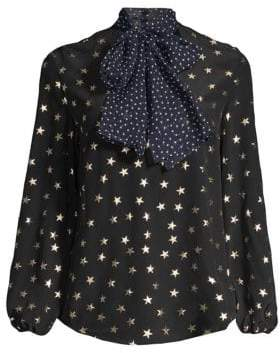 Rixo Angie Polka Dot Tie-Neck Star Print Silk Blouse