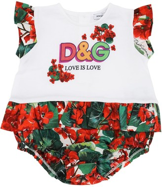 Dolce & Gabbana Printed Cotton Jersey & Poplin Bodysuit