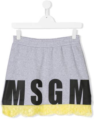 MSGM logo print skirt