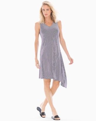 Soft Jersey Asymmetrical Hem Midi Dress Stocking Stripe Maritime