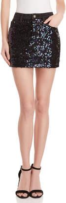 Mustard Seed Sequin Embellished Denim Skirt