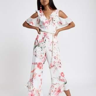 River Island Womens Petite cold shoulder pink floral jumpsuit