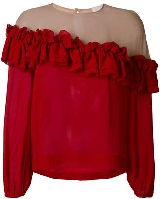 L'Autre Chose ruffled trim longsleeved blouse
