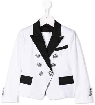Balmain Kids contrast lapel blazer