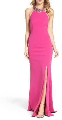 Women's Adrianna Papell Embellished Halter Gown $198 thestylecure.com