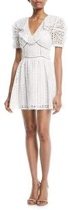 Self-Portrait Broderie Anglaise Cotton Puff-Sleeve Mini Dress