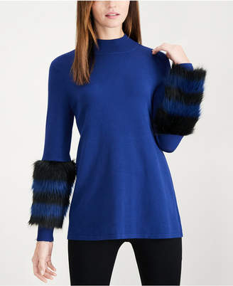 Alfani Striped Faux-Fur Cuff Sweater