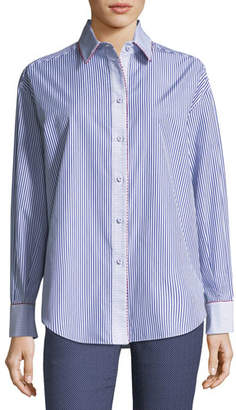 Piazza Sempione Two-Way Striped Poplin Shirt with Contrast Piping