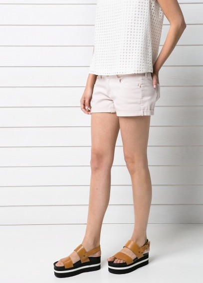 MANGO Outlet Pink Denim Shorts
