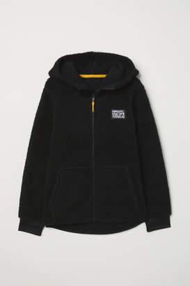 H&M Fleece-lined Hooded Jacket - Black