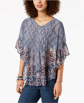 Style&Co. Style & Co Petite Pintucked Poncho Top, Created for Macy's