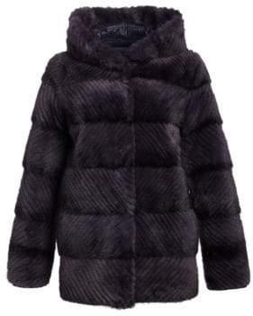Norman Ambrose Reversible Mink Fur Hooded Puffer Jacket