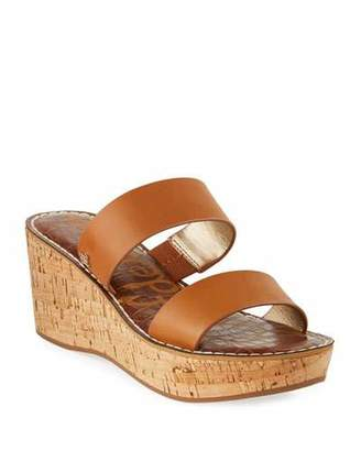 Sam Edelman Rydell Cork-Wedge Leather Sandals, Brown