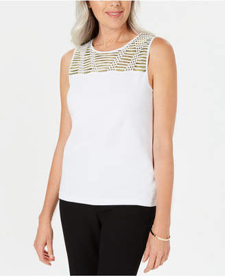 Kasper Embellished-Yoke Sleeveless Top