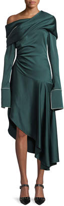 Monse Long-Sleeve Twist-Shawl Asymmetric Satin Midi Cocktail Dress