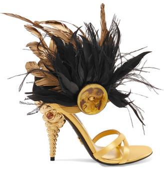 Feather-trimmed Crystal-embellished Satin Sandals - Gold