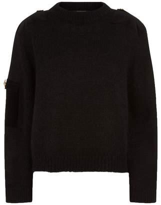 Mother of Pearl Atlas Velvet Patch Sweater