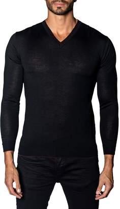 Jared Lang Trim-Fit V-Neck Lightweight Sweater