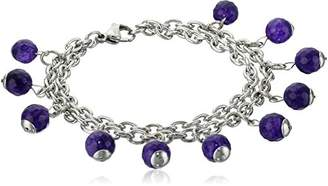 ELYA Jewelry Womens Stainless Steel With Multi-Strands And Natural Agate Stones Charm Bracelet