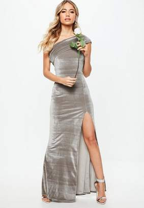 Missguided Bridesmaid Gray Velvet One Shoulder Overlay Maxi Dress