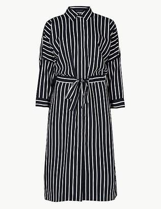 M&S Collection Striped 3/4 Sleeve Shirt Dress
