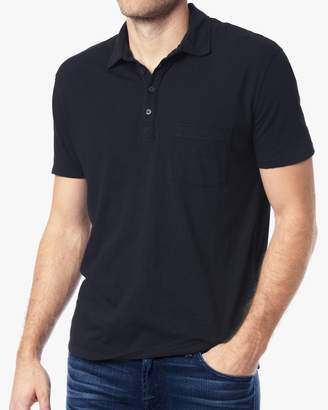 7 For All Mankind Short Sleeve Raw Placket Polo in Midnight Navy