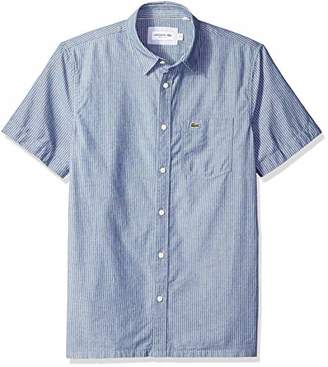 Lacoste Men's Short Sleeve REG FIT Blue Pack Striped Chambray Button Down