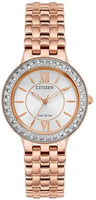 Citizen Eco-Drive Silhouette Crystal Rose Gold Stainless Steel Bracelet Ladies Watch