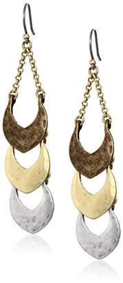 Lucky Brand Tri Tone Linear Dangle Earrings