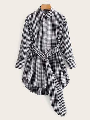 Shein Gingham High Low Curved Hem Belted Shirt Dress