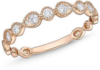 Memoire 18k Rose Gold Round & Teardrop Diamond Band Ring, Size 6.5