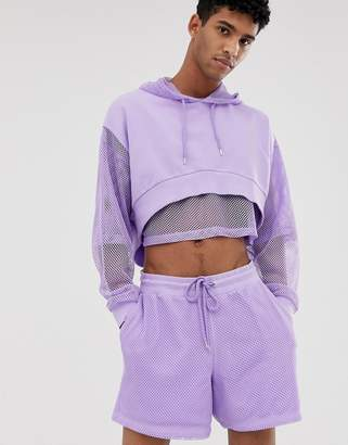 Asos Design DESIGN co-ord oversized festival cropped hoodie with mesh sleeve and hood in purple