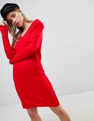 Asos DESIGN Dress With V Neck And Shoulder Pad