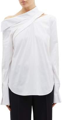 Monse Button sleeve cutout one-shoulder shirt