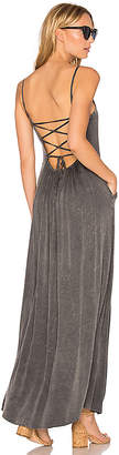 Chaser Criss Cross Tie Back Maxi Dress in Charcoal $119 thestylecure.com
