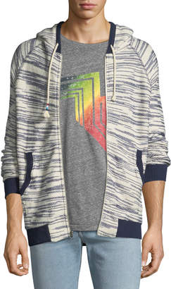 Sol Angeles Space-Dye Tweed Zip-Front Hoodie