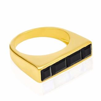 Ring Black Neola Equilibrium Gold Stacking Onyx
