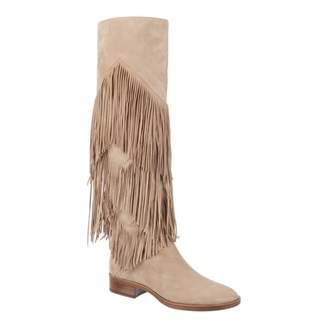 58772a85e Oatmeal Suede Pendra Fringed Over The Knee Boots