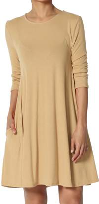 Hunter TheMogan Women's 3/4 Sleeve A-Line Knit Pocket T-Shirt Tunic Dress KhakiL