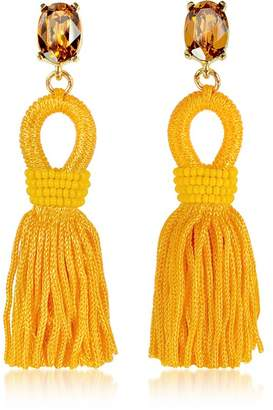 At Forzieri Oscar De La A Short Silk Tel Earrings