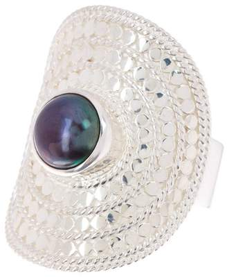 Anna Beck Sterling Silver 8mm Dyed Blue Freshwater Pearl Shield Ring