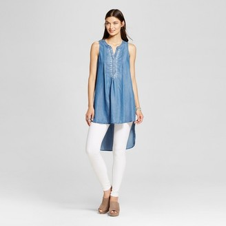 Knox Rose Women's Embroidered Button Down Tunic Tank $27.99 thestylecure.com