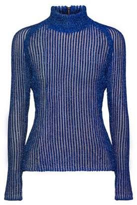 Carven Metallic Ribbed-Knit Lamé Turtleneck Sweater