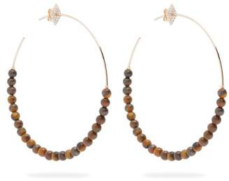 Diane Kordas - Diamond & 18kt Rose Gold Hoop Earrings - Womens - Brown