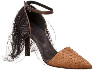 Brunello Cucinelli Fringe Leather Ankle Wrap Pump