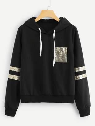 Shein Plus Contrast Sequin Hooded Sweatshirt